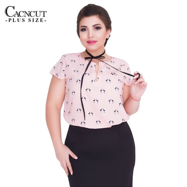 CACNCUT Fashionable Big Size Print Women Tops Summer 2018 Plus Size Chiffon Office TShirt Women Clothing With Bow Tie Tops L-6XL