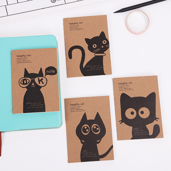 Kraft Paper Black Cat Notebook Vintage Notepad Copybook Daily Memos Kraft Cover Journal Note Books Office Stationery