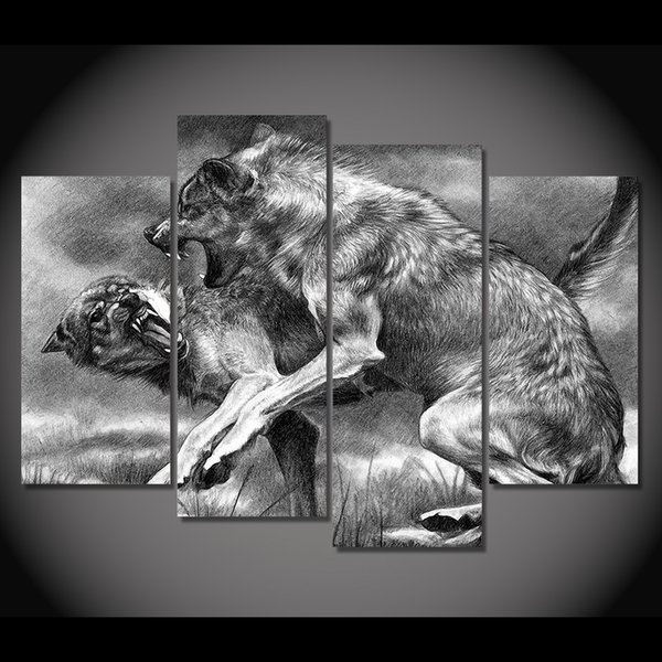 4 piece canvas painting wolves fight and bite HD posters and prints canvas painting for living room free shipping XA-1905A