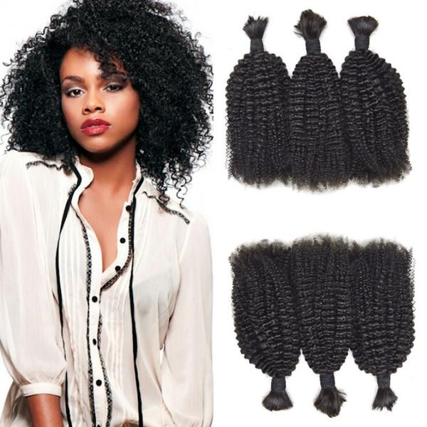 Peruvian Human Hair Afro Kinky Curly Bulk For Braiding 3 Bundles For Black Women Natural Black Free Shipping FDshine HAIR