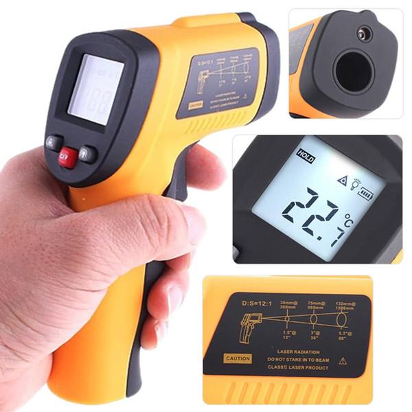 Digital Infrared Thermometer LCD Non-contact Pyrometer Alarm IR Laser Point Gun Temperature Measurement