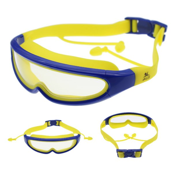 Silicone Kids Protection Swim Goggles Anti-fog Lights Lens Child Swimming Goggles with Conjoined Earplugs Pool oculos de grau