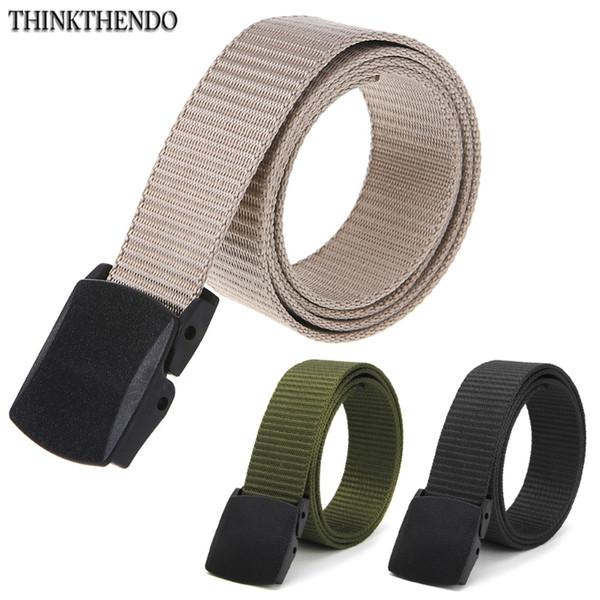 THINKTHENDO 1 PC Fashion Hypoallergenic Metal Plastic Automatic Buckle Belt Wild Men Canvas Belt Christmas Gifts