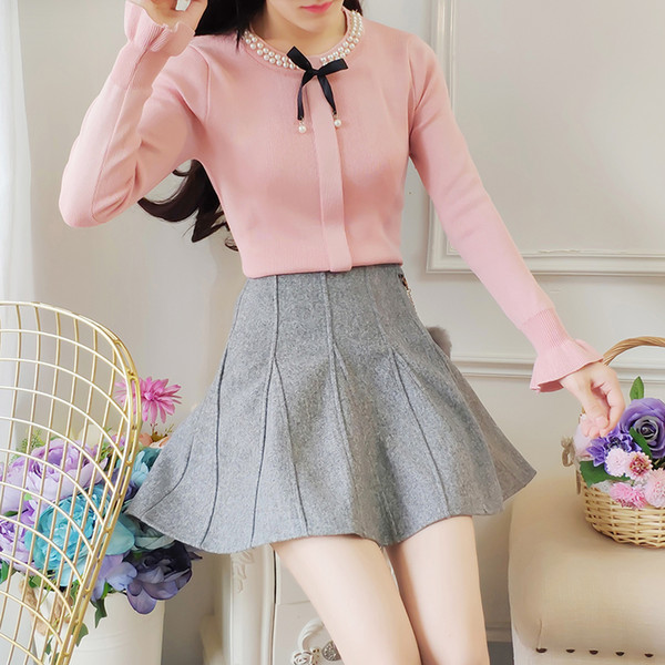 Princess winter cute suit women bow sweater skirt & tall waist two piece clothing set vestido lady outfit pullover knitwear top