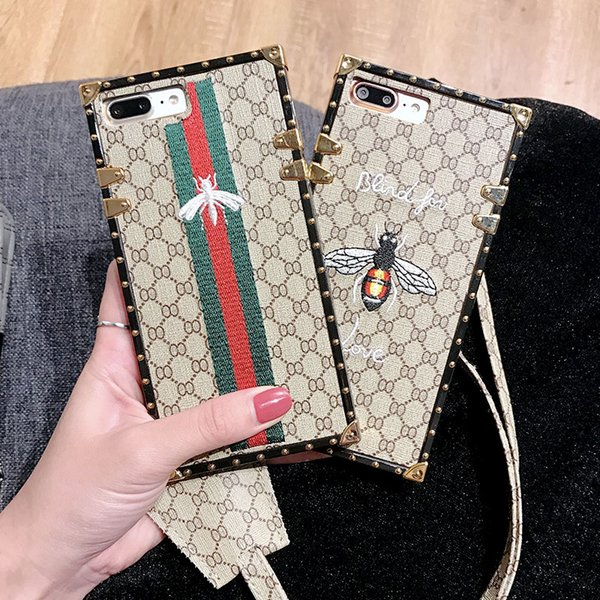 Designer Phone Case with Bee Embroidery for IphoneX Iphone 7P/8P 7/8 6/6sP 6/6s Fashion Creative Personality Back Cover with Lanyard