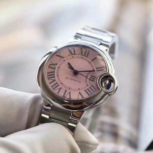 Mujeres reloj de lujo reloj del coche del coche reloj de acero banda suiza Movimiento mujeres JF movimiento hombre deportes Relojes de pulsera a prueba de agua
