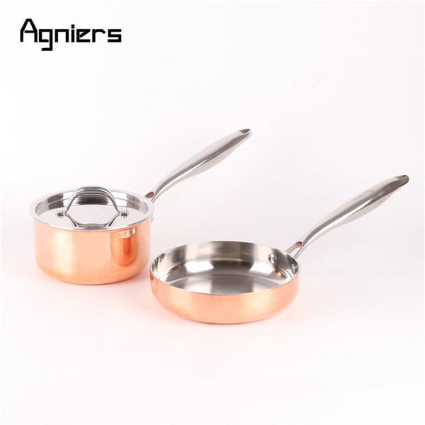 Agniers High Quality 3pcs Cookware Set Five -Ply Copper Clad Steel 16cm Sauce Pan +20cm Frying Pan