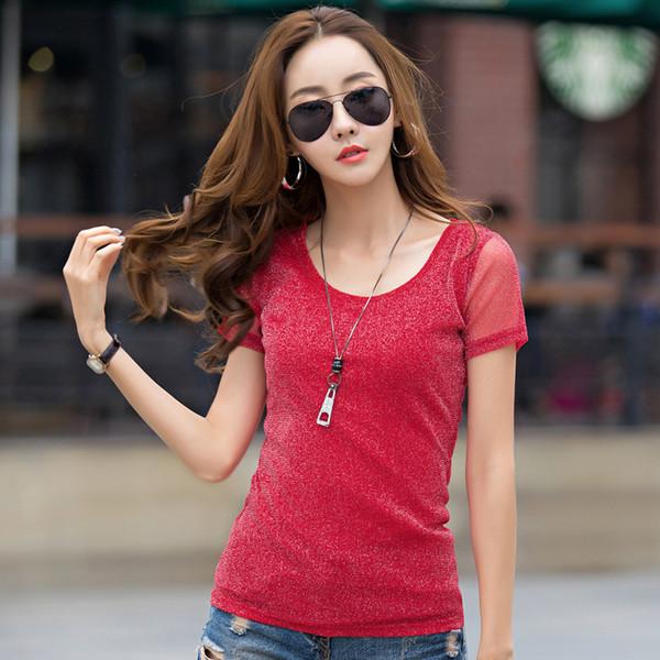 Slim T Shirt manica corta in poliestere di marca donne di estate femmina casuale Ladies T-Shirt supera i T O-Collo che basano la maglietta di alta qualità femminile