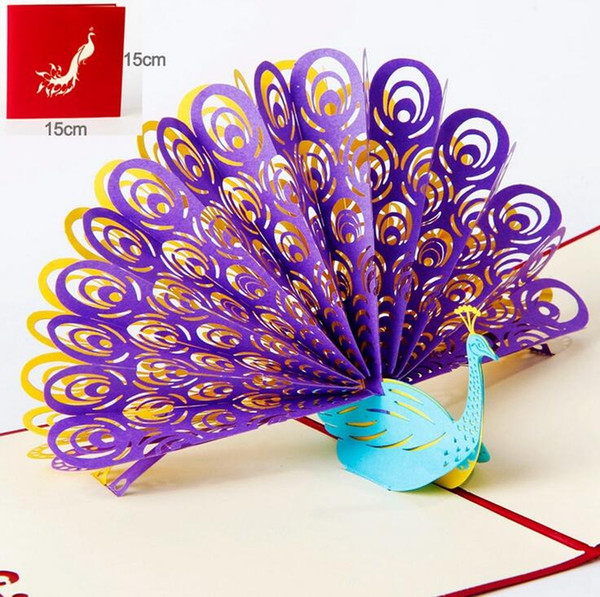 Hollow Peacock Handmade Kirigami Origami 3D Pop UP Greeting Cards Invitation Of Wedding Postcard For Birthday Wedding