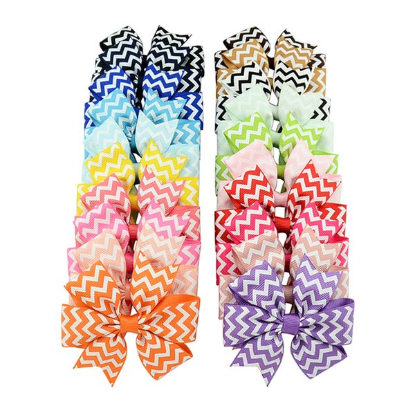 40pcs Lot Wave Bow With Clip For Kids Boutique Ribbon Hairpin Hair Clips For Kids Girls Fashion Hair Accessories 611