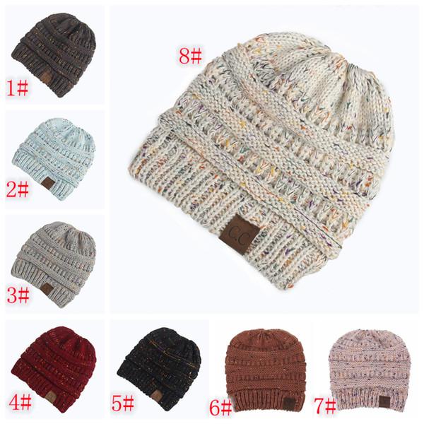 Compre 8styles Cc Ponytail Beanie Hats Sombreros De Punto Back Hole ...