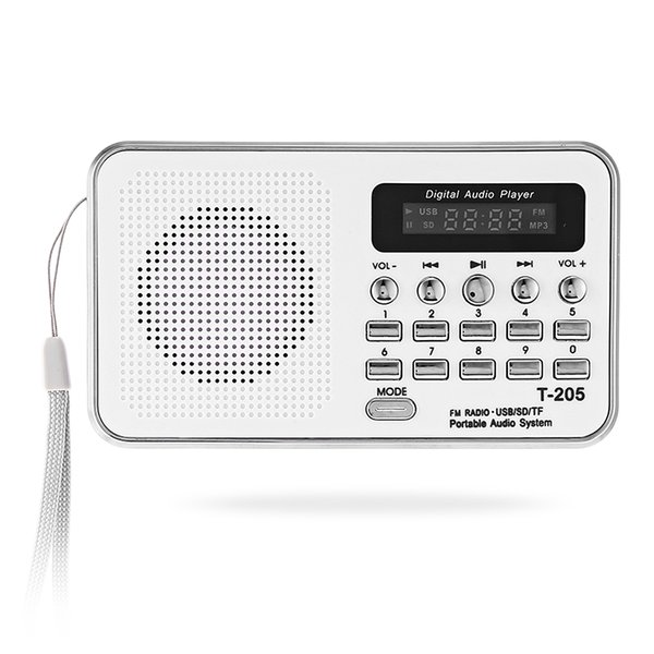 Lo nuevo portátil Mini T-205 FM Radio Altavoz HiFi Tarjeta Digital estéreo Multimedia MP3 Reproductor de música Altavoz Camping Hiki Sport