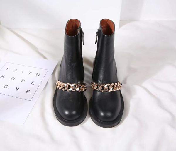 Tamaño 35-41 botas de mujer de punta redonda de cuero genuino botas cortas de cadena de oro de plata