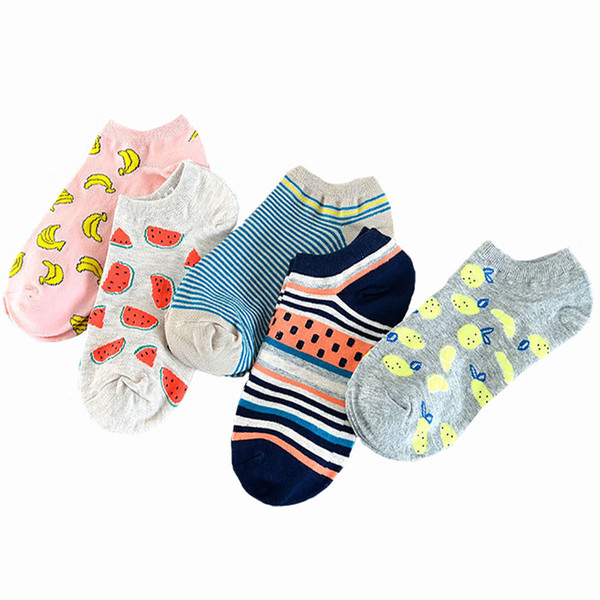 50PAIRS/LOT Women Socks Cute Casual girl socks fruit cartoon candy cotton Striped Short Ankle boat socks Accessories Women wholesale