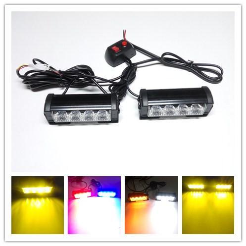 1set 4 LED 8w Haute Puissance Stroboscopique Pompier Clignotant Avertissement D'urgence Police Feu Camion De Voiture Blanc Ambre Rouge 09002