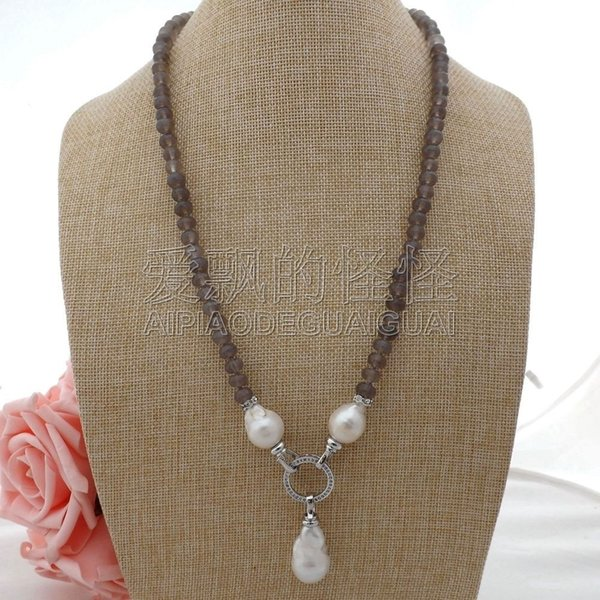 "N052110 23"" White Keshi Pearl Gray Necklace"