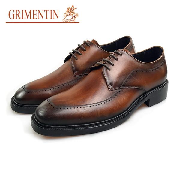 GRIMENTIN Genuine leather mens dress shoes Italian fashion designer hot sale men oxfords brand formal business office mens shoes WM