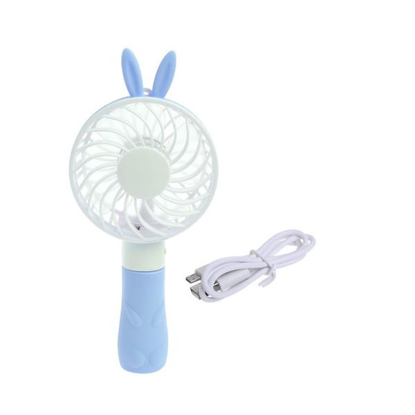 Ventilador eléctrico lindo con orejas de oso de conejo Ventilador de mano portátil Mini USB enfriador de mano con batería y correa