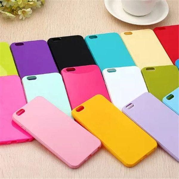 100 pcs case para coque iphone 4s x 5 4s 5c 6 6 plus 7 7 plus 8 8 plus casos capa tpu macio silicone tampa traseira doces cor funda