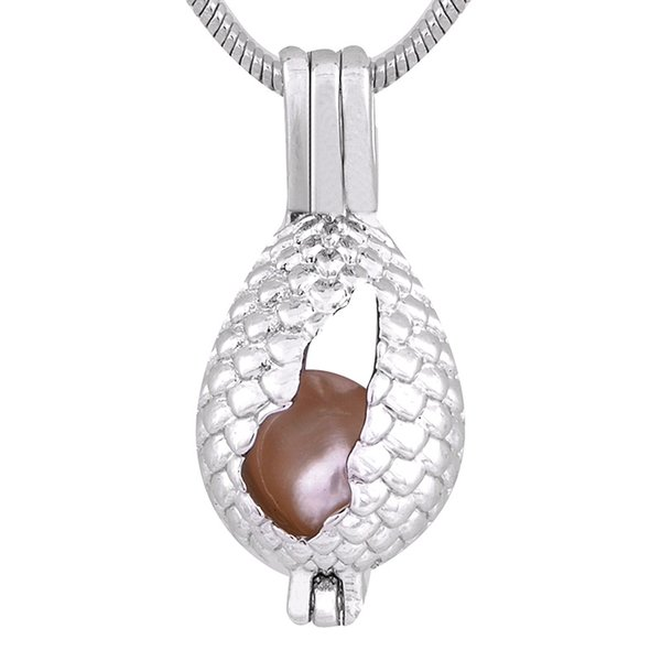 Dinosaur egg Shape Plated sliver Pearl Cage Pendants Locket For DIY Oyster Pearl Pendants Jewelry P145