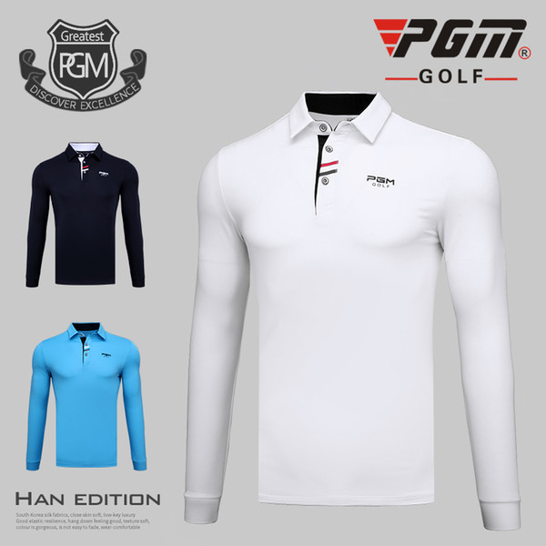 top popular High quality PGM Golf Sportswear men long sleeved T-shirts Spring and autumn golf clothes breathable comfortable Shirts 2019