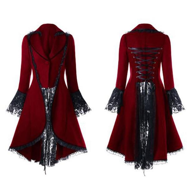 Gótico Retro Mulheres Guarnição Do Laço Casaco Longo Medieval Steampunk Vitoriano Lace-Up Alta Baixa Jaqueta Feminina Tribunal Nobre Vestido Cosplay
