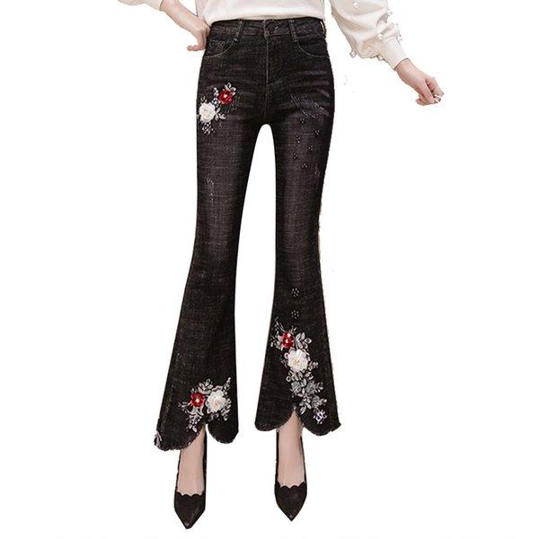 Women Embroidered Sequin Flowers Denim Jeans Women Skinny Stretch Pencil Slim Vintage Flare Pants A406