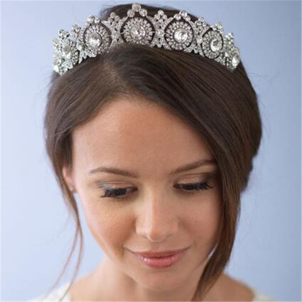 Mamojko European Designs Royal King Queen Crown Rhinestone Tiara Head Jewelry Wedding Bride Tiaras Crowns Pageant S919