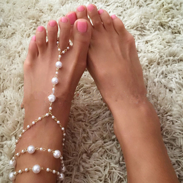 Best lady Chain Footless Bridal Foot Beach Wedding Simulated Pearl Barefoot Sandal Anklet Women Jewelry Female Anklets Wholesale