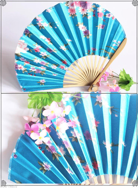 Chinese Japanese turquoise Silk Hand Flower Bamboo Asian Pocket Fan