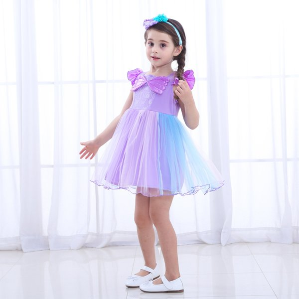 Baby Girl Mermaid Dress Summer Party Dresses Prom Bambine Patchwork Princess Dress Purple Nuovo 2018