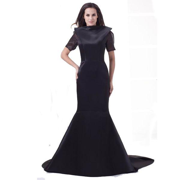 Black Satin Fashion Evening Mermaid Style Dress Sexy Backless Sweep Train Short Sleeve Ladies Dress 2018 Prom