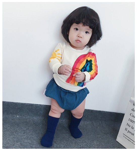 Baby Girls Sweater Long Sleeved Hoodie Cartoon Rainbow Printed Tassels T-shirt Autumn Winter New Kids Clothing Factory Free shipping