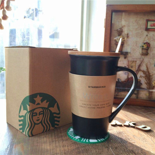 """Starbucks """"write it"""" Ceramic coffee cup 355ML Classic leave message black-white mug with pen cover lid coaster gift set"""