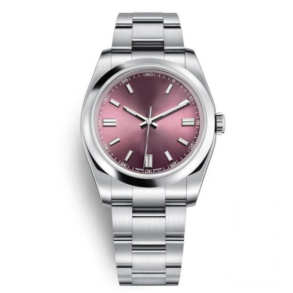 AAA Top Quality Mens Wristwatches Sapphire Oyster Perpetual Automatic Red Grape Rose Gold Dial Full Steel Luminous Men Women Dress Watches
