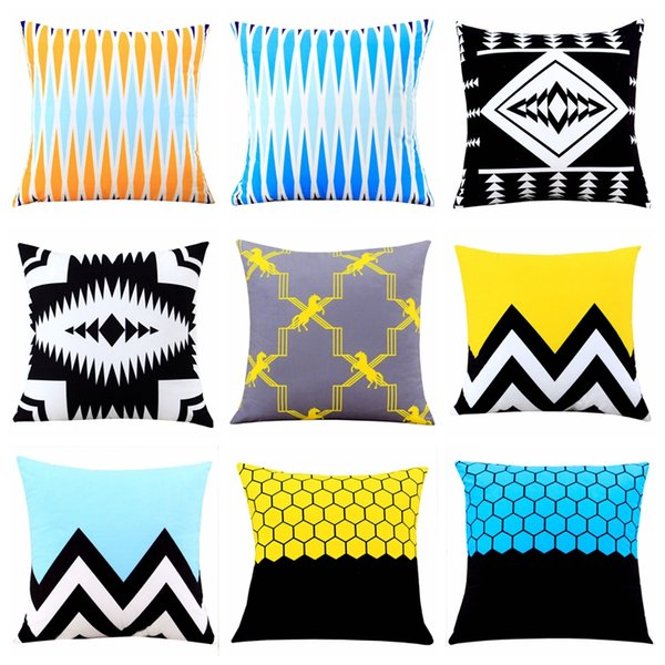 Yellow Blue Geometric Cushion Cover Home Decor Velvet Pillow Cover For Sofa 45*45cm Decorative Pillows Sham Throw Cushions