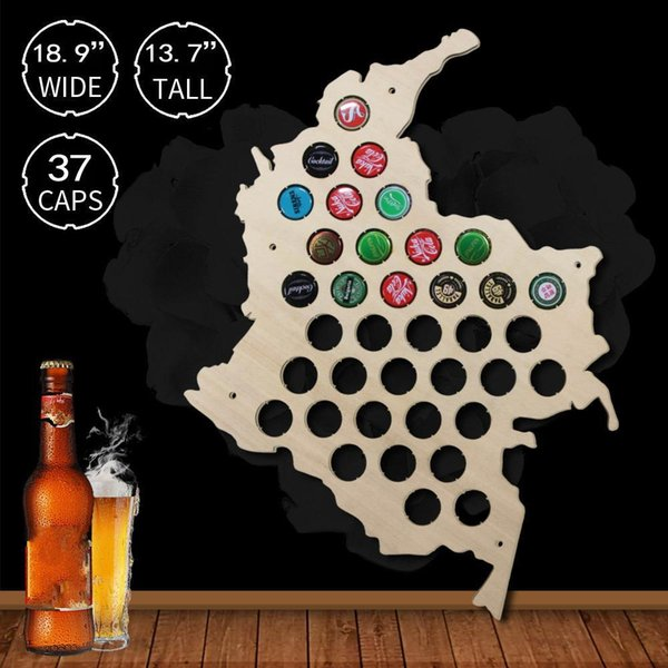 1Piece Colombia Wooden Bottle Cap Display Beer Decorate Novelty Wall Mounted Wood Map Home Decor