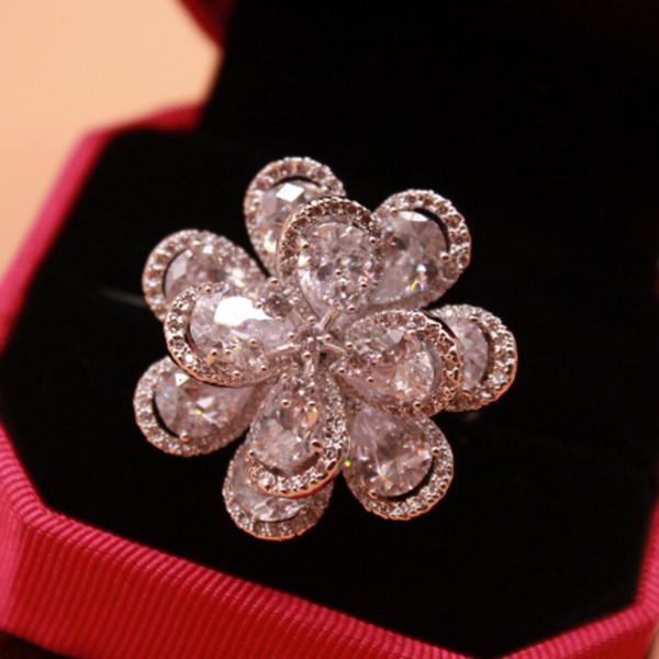 Creative multi-layer flash zircon wild Europe and America Korean women's ring Korea fashion big flower crystal female ring