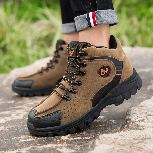 Big Size Man Hiking Shoes Size 39-47 Mens Winter Trekking Boots Army Green Brown Travel Shoes Lace Up Outdoor Walking Sneakers