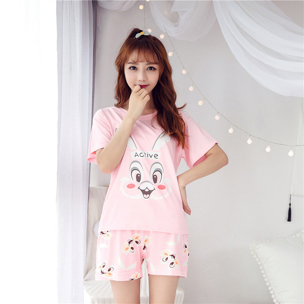 Women Pink Pajamas Cartoon Rabbit Cute Pijama Elastic Shorts Summer Short Sleeve O Neck Pajama Set Two Piece Set Loose Pyjamas