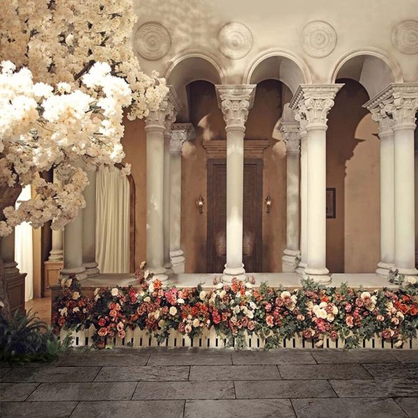 White Flower Blossoms Garden Wedding Photography Backdrops Printed European Castle Arched Pillars Studio Photo Booth Background Vintage