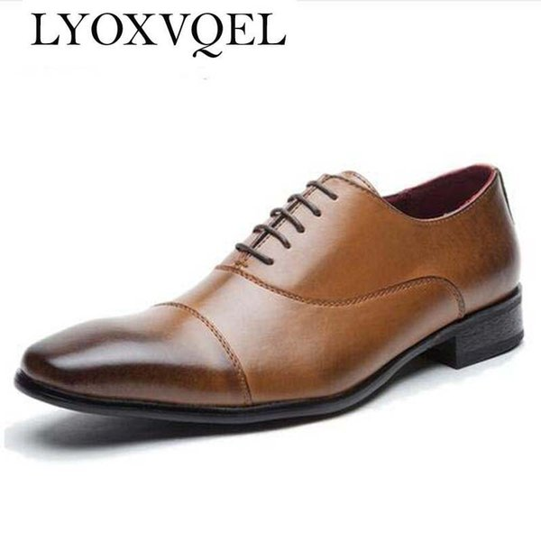 Mens shoes luxury genuine leather flats business formal shoes mens party dress brogues oxfords derby zapatos hombre M130