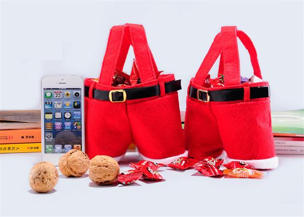 New Christmas Santa Claus Pants Candy Gift Bag Xmas Wine Bottle Handbag Wedding Red Color Nonwoven Gift Bags Decoration