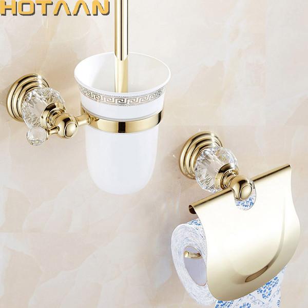 2017 freies verschiffen, massivem messing Bad-accessoires-set, toilettenbürstenhalter, Papierhalter, Gold badezimmer setzt HT-812800-2
