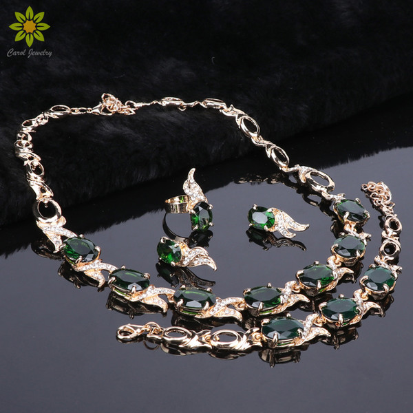 Fashion Gold Plated Crystal Necklace Earring Bracelet Ring Jewelry Sets For Brides Wedding Party Prom Decoration Gift Women