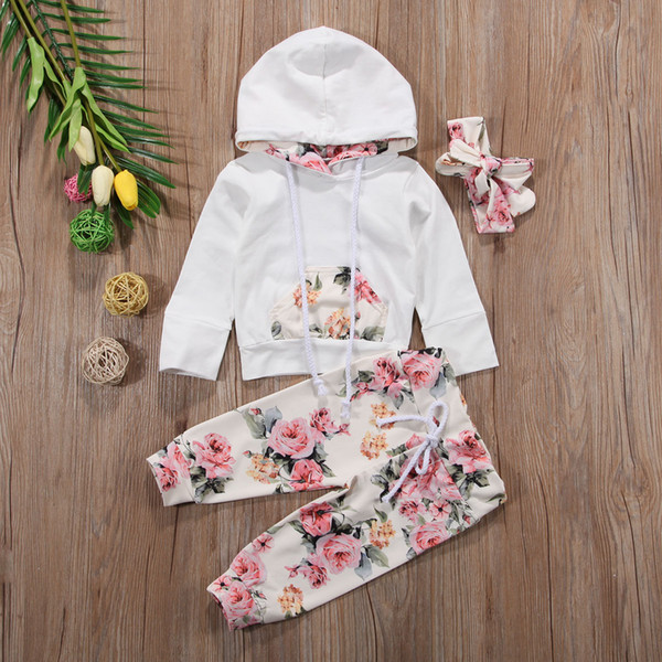 New Baby Infant Girls Vêtements Set Fleur À Manches Longues Tops À Capuche + Pantalon + Bandeau Tenues 3pcs Ensemble Floral Survêtement Bébé Fille Toddler 0-24 M
