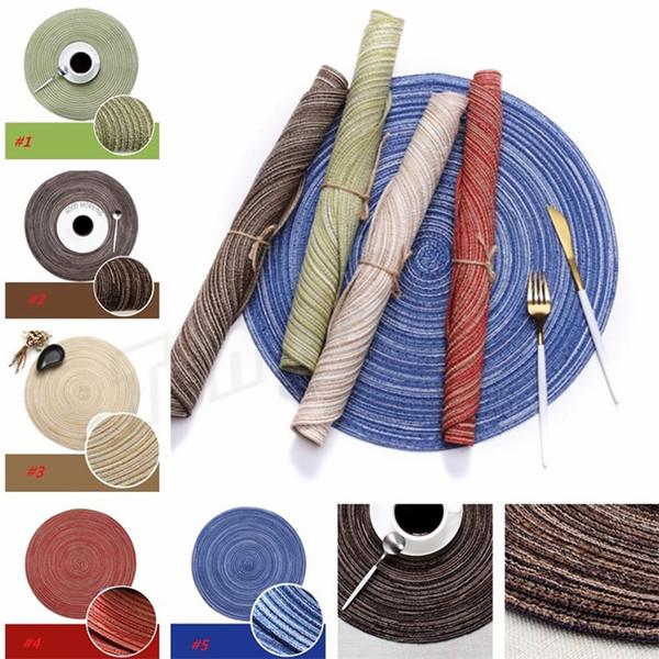 Alfombras de mesa de cocina 35 cm Hilo de algodón de mesa redonda Servilletas Posavasos de mesa Mantas de cocina Mantas decorativas I394