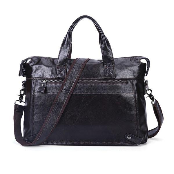 Nesitu Vintage Coffee Black Real Skin Genuine Leather Men Messenger Bags A4 Handbags Briefcase Male Portfolio Shoulder Bag M6309