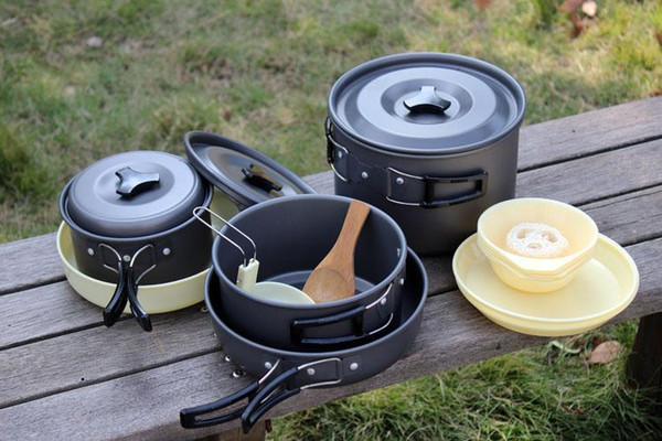 High Quality Aluminum Camping Cookware Set Backpacking Pans Pot Mess Kit for 4-5 Person Support FBA Drop Shipping H229Q