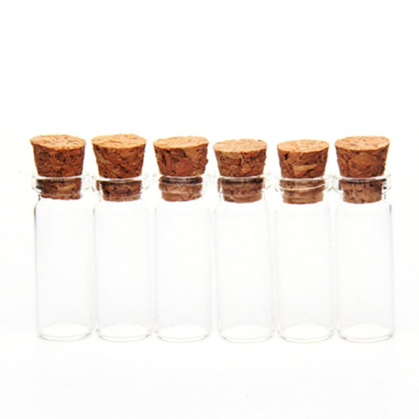 6Pcs 10*28MM 2.5ML Glass Bottles Wishing Bottle Empty Sample Storage Jars with Cork Stoppers - Transparent